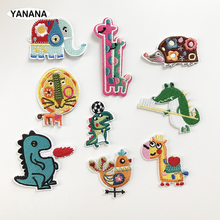 Dinosaur Crocodile Giraffe Elephant Animal Iron On Embroidered Clothes Patches For Clothing Stickers