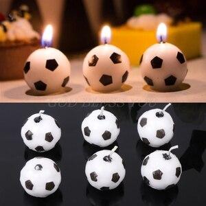 Image 1 - 6 pièces/ensemble ballon de Football Football bougies pour fête danniversaire enfant gâteau décoration fournitures livraison directe