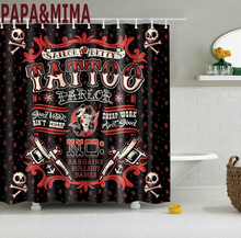 PapaMima Gothic Tattoo Waterproof Shower Curtains Polyester Bathroom With Hooks 150x180 180x180cm Decorative