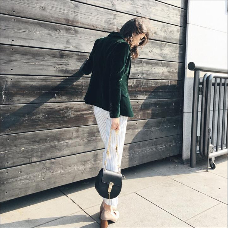 Ladies Blazer Slim Fit Velvet Office Suit Green Causal Single Breasted Female Coats Autumn Women Blazers  A3543