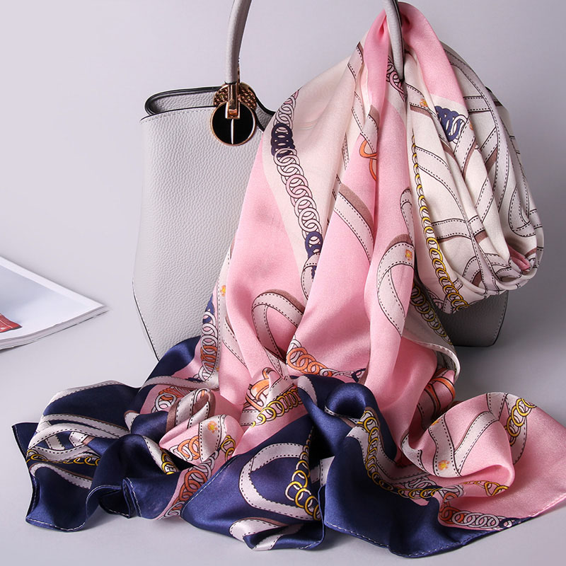 100% Silk Scarf Women Luxury Brand 2018 Hangzhou Silk Shawls And Wraps For Ladies Print Vintage Foulard Natural Pure Silk Scarf