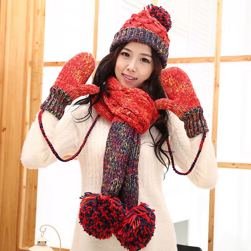 Knitted hat scarf gloves female winter thermal knitted set women's piece set christmas gift simplicity wholesale 2pr set knitted touchscreen gloves