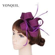 Dark Purple imitation sinamay fascinator hats women wedding with feather  hair accessories ladies party headbands multiple 940b84ae17d