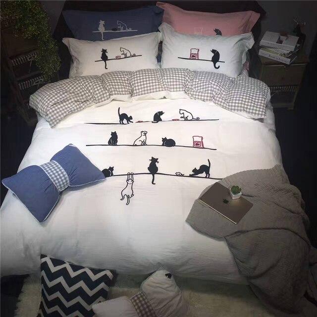 Weißrosablau Schöne Katzen Bettwäschesatz Applikation Duvet
