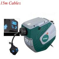 Tambor eléctrico telescópico automático enchufe Cable carrete Retractor tambor de aire bobinador FUJE03-215