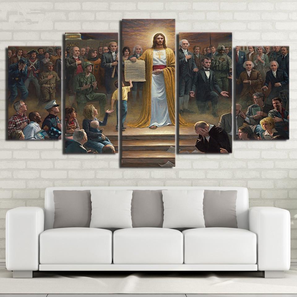 Lona de arte de pared fotos casa decoración marco 5 unidades pintura clásica Jesús Cristo vuelve a la tierra cristiana cartel