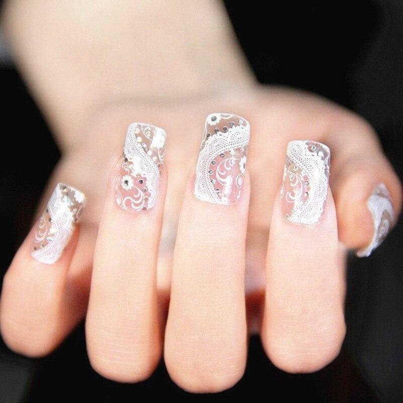 5Pcs 3D White Lace Diamond Flower nail wraps French Manicure ...