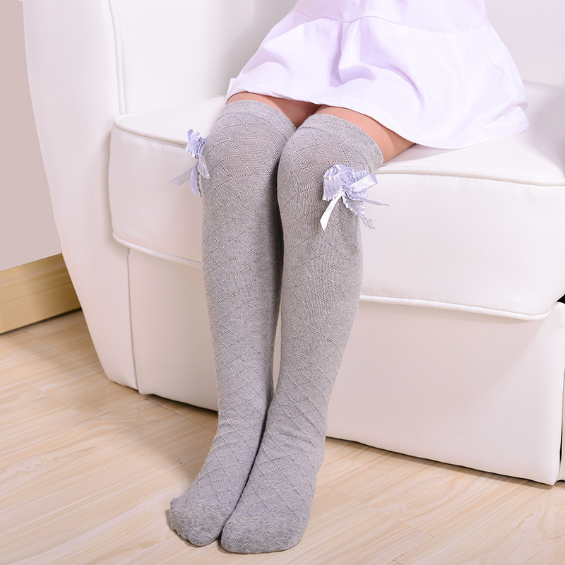 Cute Children's Knee High Socks For Toddlers Kids Baby Girls Solid Bowknot Cotton Princess Dress Ballet Long Sock Leg Warmer