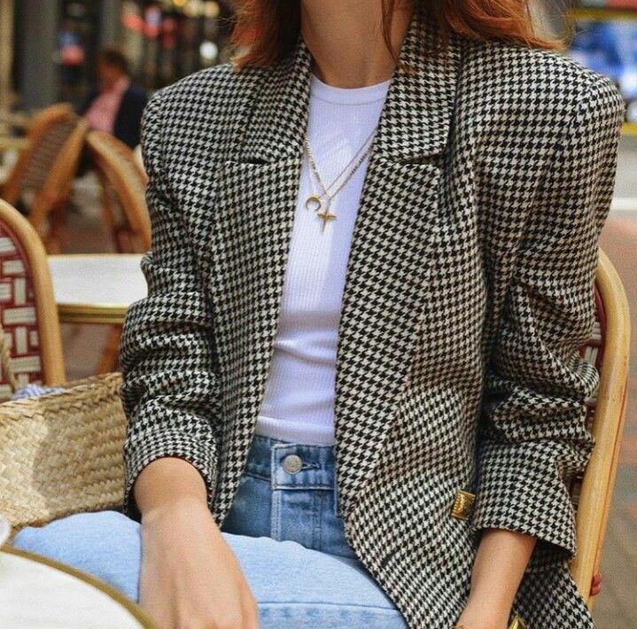 Houndstooth Casual Suit Coat Woolen Jacket Retro Slim OL Autumn Winter Hight Quality Plaid Overcoat