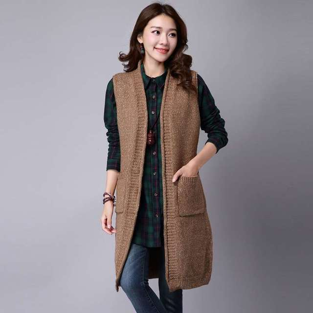 a817e8c581ca8 New Arrive long sweater girls knit coat loose sleeveless cardigan vest  1444945524 oversized