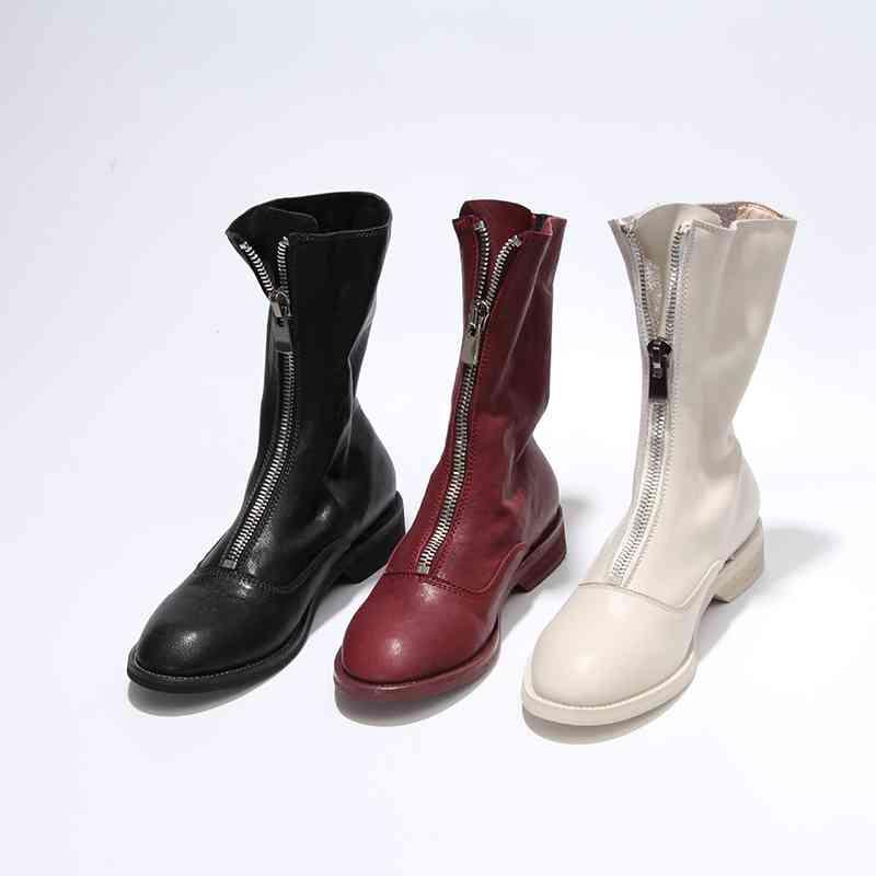 Krazing Pot echt leer winter schoenen knappe motorlaarzen rits decoratie runway vrouwen houden warm mid kalf laarzen L18-in Driekwart Laarsjes van Schoenen op  Groep 2