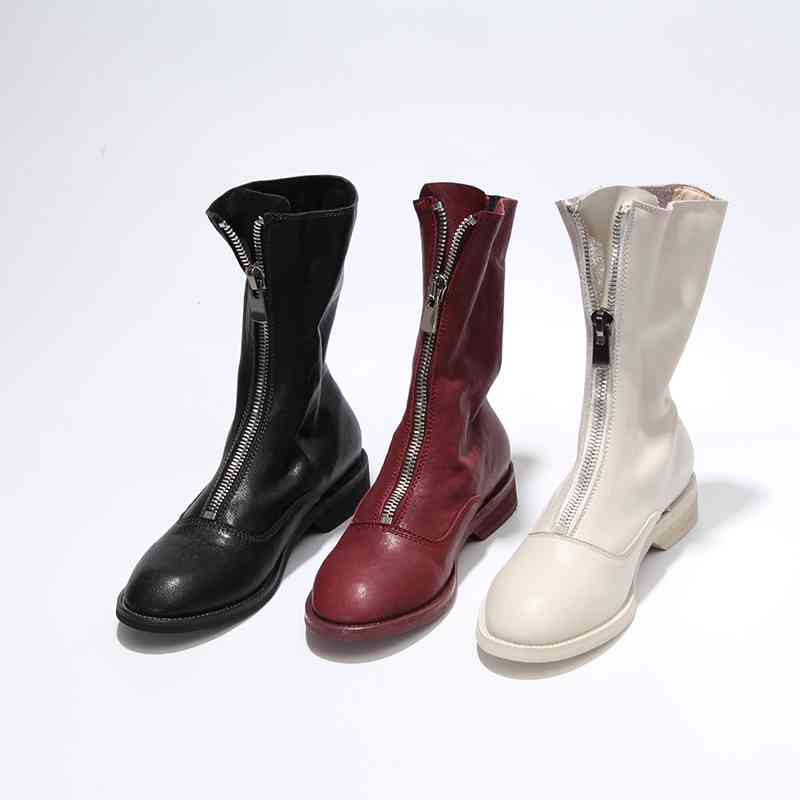 Krazing Pot genuine leather winter shoes handsome motorcycle boots zipper decoration runway women keep warm mid-calf boots L18