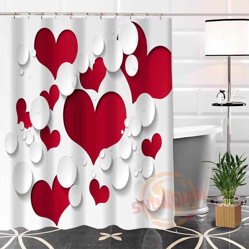 Najlepsze ładne niestandardowe czerwone serce tło zasłona prysznicowa zasłona wanny wodoodporna tkanina do łazienki więcej rozmiar WJY #62