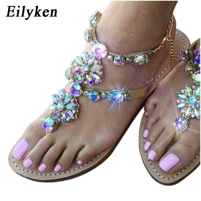 nouveau produit 01546 2bf89 € 13.69 22% de réduction|Eilyken 2019 femme sandales femmes chaussures  strass cristal chaînes string gladiateur plat sandales Chaussure grande  taille ...