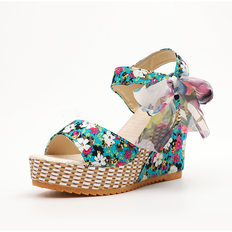 HTB1H2a8ahD1gK0jSZFKq6AJrVXav Women Summer Wedge Sandals Female Floral Bowknot Platform Bohemia High Heel Sandals Fashion Ankle Strap Open Toe Ladies Shoes