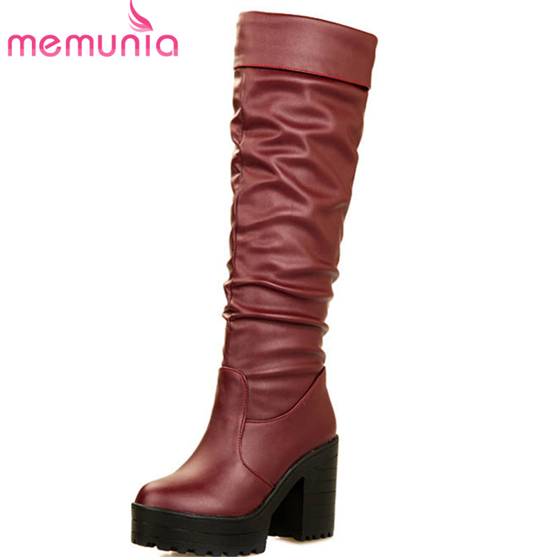 MEMUNIA 2018 big size 34-43 round toe platform boots slip on autumn winter knee high boots sexy high heels shoes woman black enmayer buckle strap round toe zippers high heels winter boots shoes woman sexy red shoes large size 34 43 knee hight boots