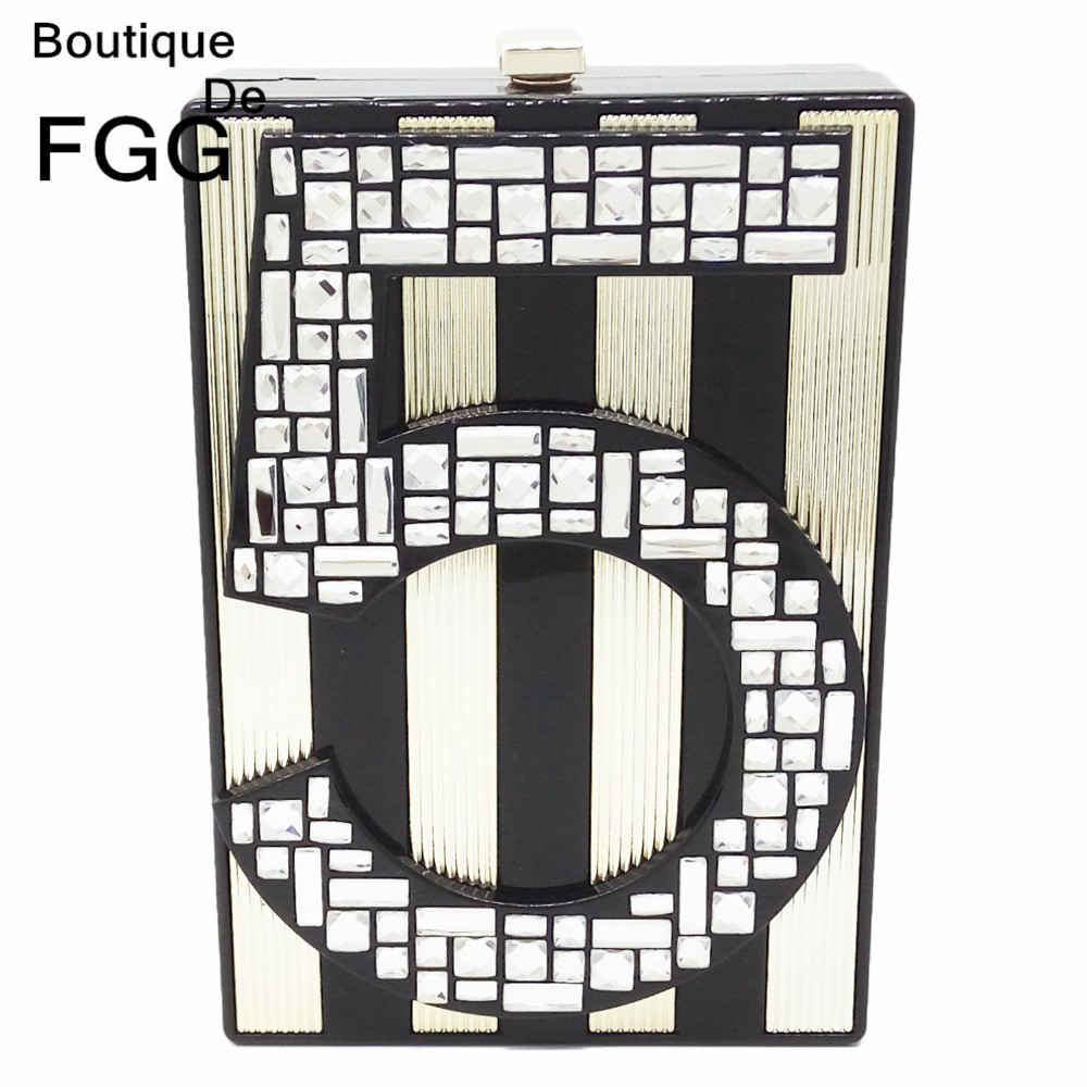 Famous Brand No. 5 Appliques Striped Women Mini Evening Bag Party Prom Acrylic Box Shoulder Handbag Clutch Hardcase Clutches Bag
