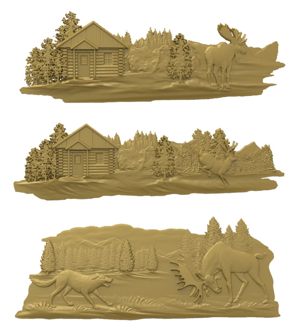 Pieces deer d model relief stl model for cnc router carving