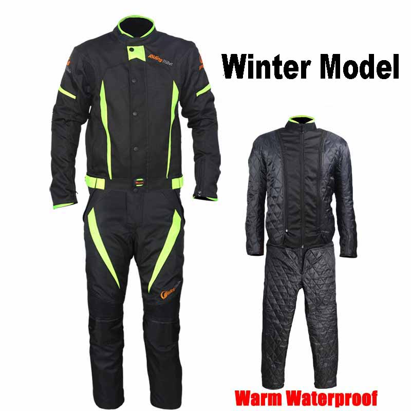 Riding Tribe Winter Motorcycle Jacket Pants Warm Black Reflective Motorbike Waterproof Suits Motocross Clothing Trousers