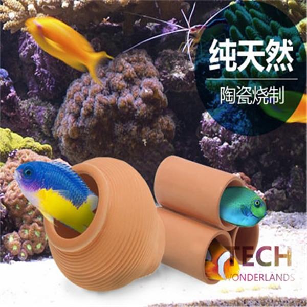 1PCS Artificial Fish Tank Aquarium Ceramic Cave Fish Shrimp Snail Ornament Decor