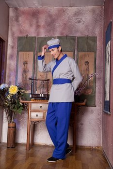 Hanfu Civilian Clothes Chinese Folk Dance 5 Color Ancient Chinese Costume Men Stage Performance Outfit  Servant Suit