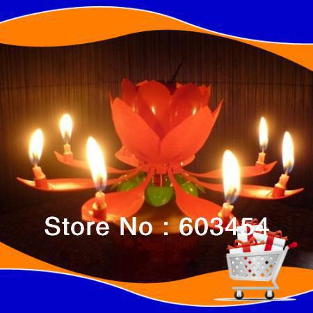 SPINNING MUSICAL BIRTHDAY CANDLE FLOWER Party Gift Sparkler Cake Topper Rotating Lovely Free Shiping