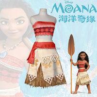 Movie Moana Cosplay Costume Women Kids Summer Dress Halloween Princess Dress Custom Made