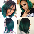 Fashion Ombre Wig Dark Green Straight Short Cut Bob Wigs Heat Resistant Synthetic Lace Front Wig Natural Black/Turquoise Hair