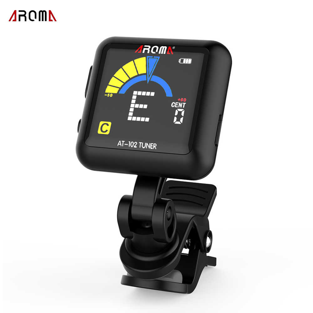 aroma at 102 clip on guitar tuner color screen rotatable electronic tuner with built in battery. Black Bedroom Furniture Sets. Home Design Ideas
