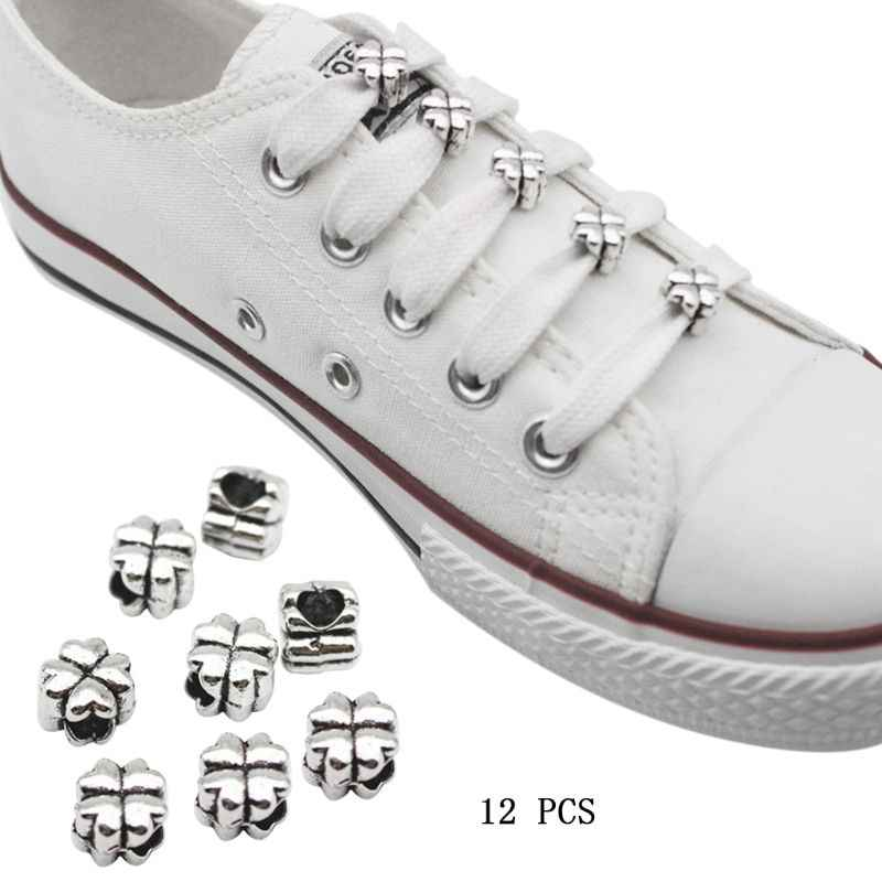 12pcs Shoelace Buckle Shoe Decoration Metal DIY Clips Ring Charms Shoelaces Gifts Accessories Supplies Laces Shoestring Ornament