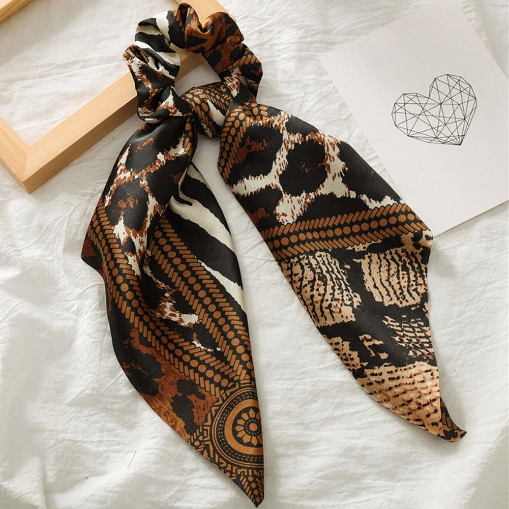 Элегантные резинки для волос с большим цветком и леопардовым принтом; эластичные резинки для волос для женщин и девочек; завязанные длинные резинки; шарф; аксессуары для волос - Цвет: 11