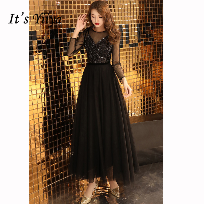 it's YiiYa   Prom     Dress   Black Sequin V-neck Strap Long   Dresses   Voile Sleeve Women Party Night Vestidos de Gala Plus Size 2019 E453