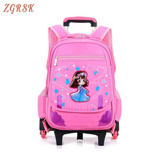 Removable Travel Nylon Rolling Bag Cartoon Fashion Kids Trolley Backpack 2/6 Wheels Girls School Bags