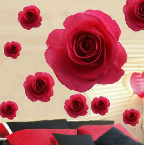 2014 hot sell Lovely <font><b>Elegant</b></font> Red Rose Flower Wall Sticker Removable Wall Sticker Lover <font><b>Home</b></font> <font><b>Decor</b></font> Decals