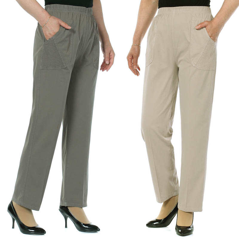 Women's Summer Cotton   Pants     Capris   High Waist Plus Size Loose Casual   Pants   Elastic Waist Straight   Pants   Women XL-5XL