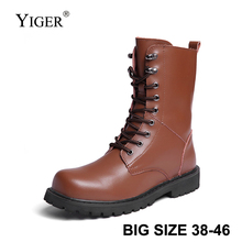 YIGER New Men army boots Big size 38-48 Martins boots cow leather High-top men's shoes winter warm with fur man casual boots 227 цены онлайн