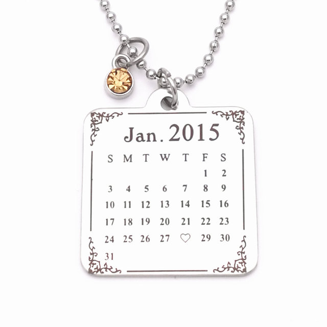 Fashion necklace for women men pendant necklace personalized fashion necklace for women men pendant necklace personalized custom calendar necklace birthday christmas gift dropshipping negle Images