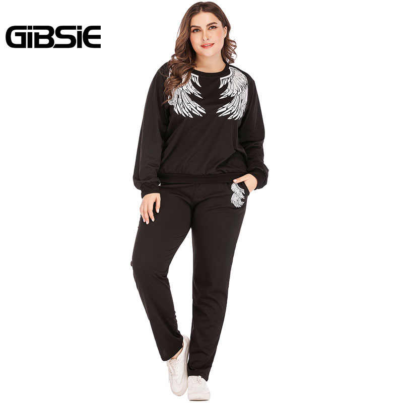 887aaa321f7 GIBSIE 2019 Spring Casual Print Long Sleeve Tracksuit Women 4xl 3xl Plus  Size Sweatshirts and Pants