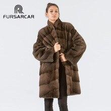FURSARCAR 90 CM Long Natural Real Mink Fur Coat Women With Stand Collar Full Pelt Winter Elegant Female