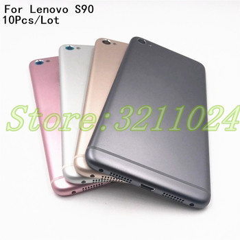 10Pcs/Lot 5.0 inches Metal Battery Back Cover For Lenovo S90 S90U S90-u Back Cover Battery Door Housing Case Replacement + Logo