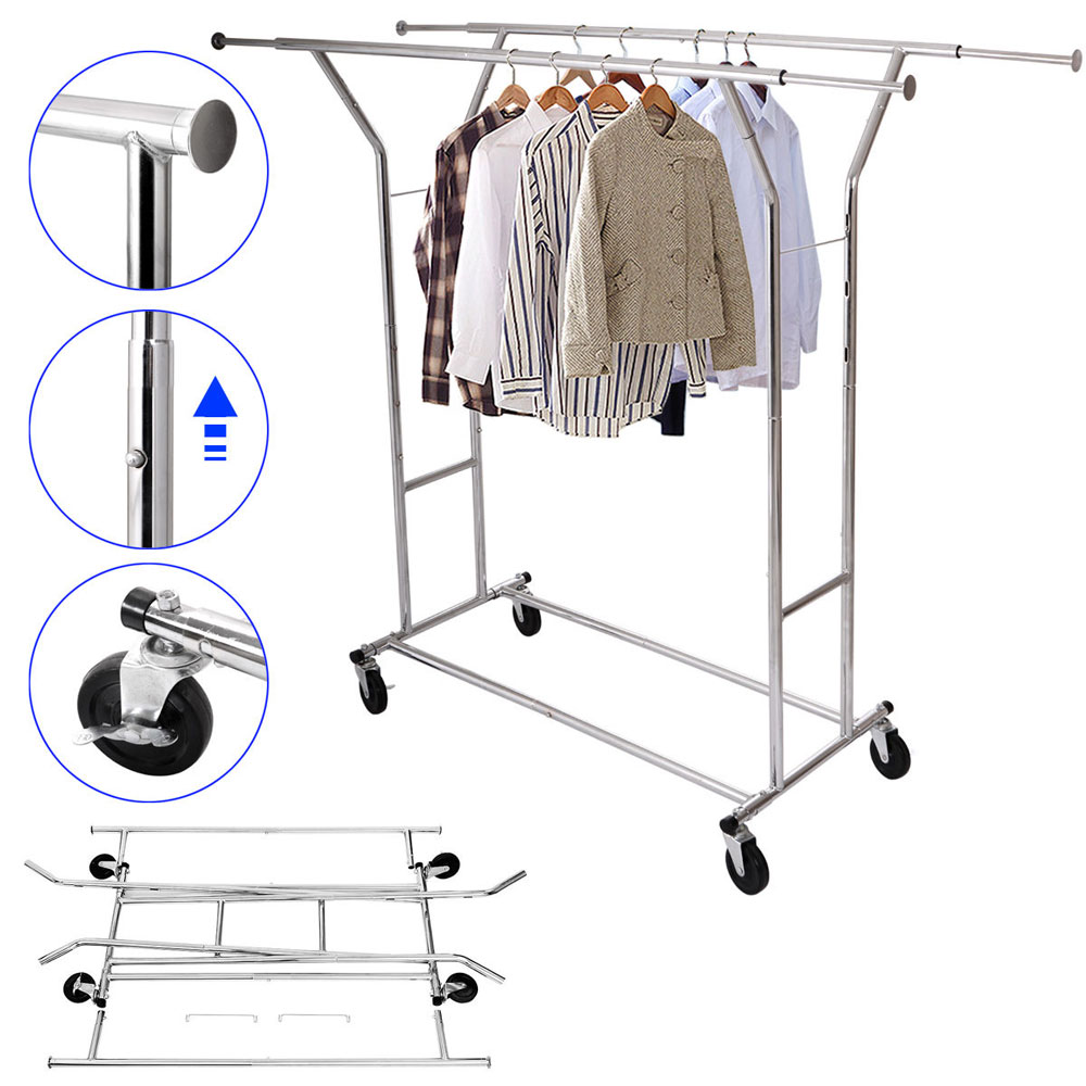 Cloth Hanger Stand Us 78 Aliexpress Buy Portable Double Bar Steel Clothes Hanger Stand Trolley Type Clothes Drying Rack Moveable Clothing Rack From Reliable