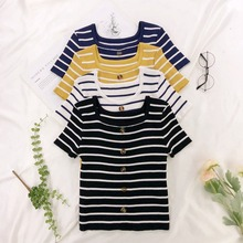 Stripes Womens T-Shirt Fashion Slim O Neck Button Knitted T Shirts Summer Short Sleeve Tshirt Korean Casual Top Tees For Female