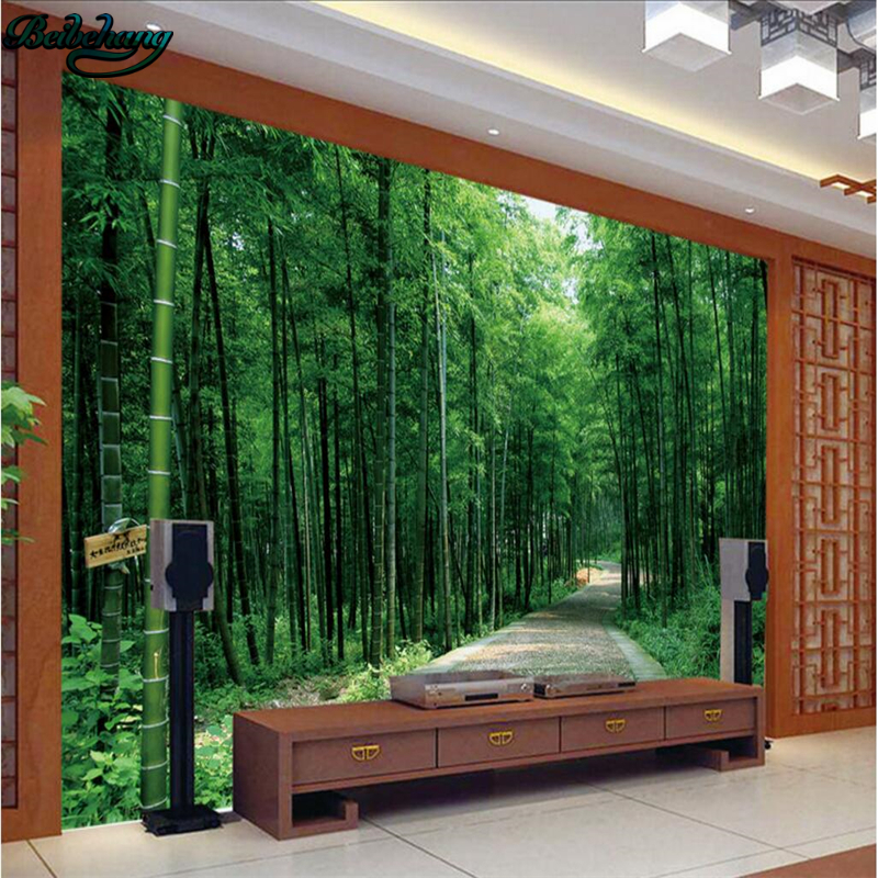 Beibehang Aromatic Atmosphere Bamboo Forest Decoration TV Backdrop Large Custom Non - Woven Wallpaper