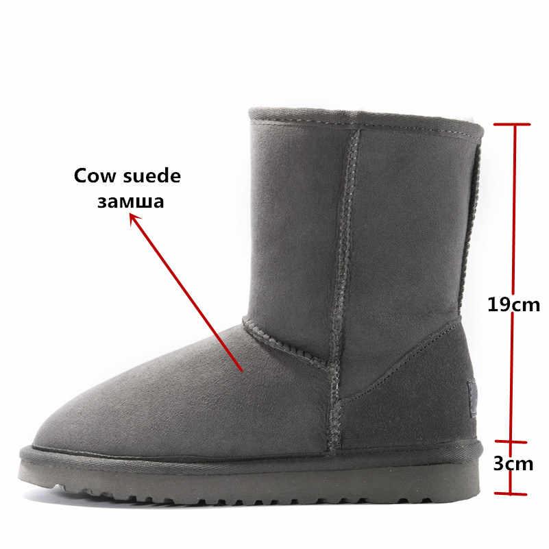 FEDONAS Kadın Hakiki Deri Orta buzağı Kar Botları Kadın Daireler Topuklu Rahat Sıcak Yün Kürk Çizmeler Süet Kış Ayakkabı kadın