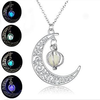 Glow In the Dark Pendant Necklaces For Women Silver Plated Chain Long Night Moon Fashion Jewelry 1