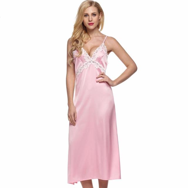 Feminino Verão Sexy Noite de Sono Vestido Elegante Longo de Cetim Deslizamento Camisola Mulheres Sem Encosto Rendas Roupão Senhora Pijamas De Seda L10