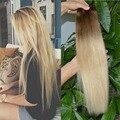 22 inch Бразильского Виргинские Человеческих Волос Полный Глава Клип в Человека Наращивание волос для Белых Женщин #8/613 Ombre Цвет Реми Волос ткачество