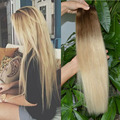 22inch Brazilian Virgin Human Hair Full Head Clip in Human Hair Extensions for White Women #8/613 Ombre Color Remy Hair Weaving