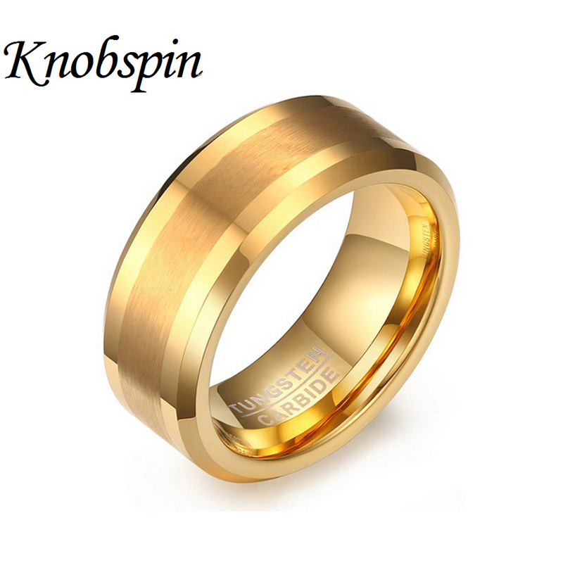 2017 fashion gold color male unique wedding band tungsten carbide ring 8mm man anniversary jewelry us size 7 13 bague homme - Unique Mens Wedding Rings