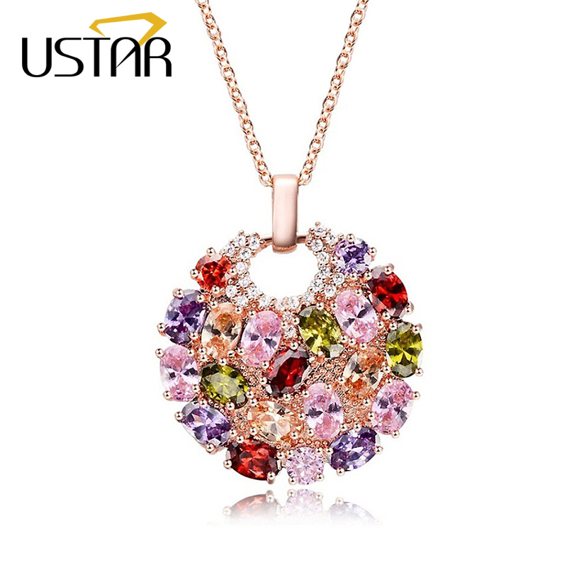USTAR Colorful Cubic Zirconia Round Pendant Necklaces for women Rose gold color Chain Necklaces Wedding Jewelry Birthday Gift